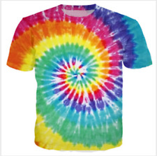 Men Women 3D T-Shirt Colorful Funny Tie-dye hypnosis Print Casual Short Sleeve