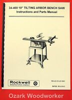 """ROCKWELL-Delta 10"""" Tilting Arbor Saw 34-400 Owner's & Parts Manual 1081"""