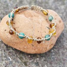 Macrame Shamballa Baltic Amber Bracelet Turquoise Unisex Brown Lemon Linen