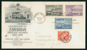 MayfairStamps Cover 1951 Postage Stamps Centennial Combo 3 Art Craft Canada FDC