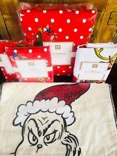 Pottery Barn Grinch Full Queen Duvet Shams Merry Grinchmas Pillow Cases Pillow