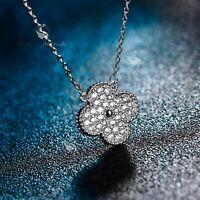 18k white gold made with swarovski cz four leaf clover flower pendant necklace
