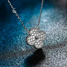 18K WHITE GOLD MADE WITH SWAROVSKI CZ FOUR LEAF CLOVER PENDANT NECKLACE