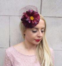 Burgundy Wine Purple Red Net Flower Fascinator Pillbox Hat Races Hair Clip 3997
