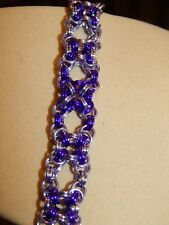 Lavender & Purple Anodised Aluminium Hand-made Chain Maille Celtic Bracelet in