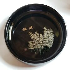 Black Lacquer Ware Bowl Kainan JAPAN with Gold Bamboo Bird Design 9