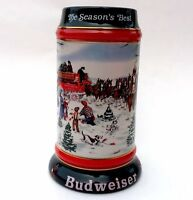 Budweiser Clydesdale Holiday Beer Stein 1991 Christmas Gift Collectible Holiday