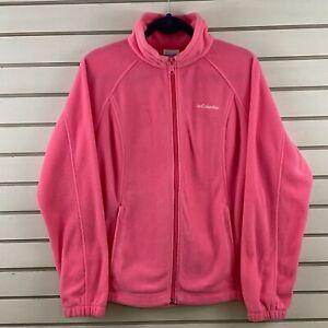 Womens L Columbia Benton Springs Fleece Full Zip Jacket Pink Mock Collar Pockets