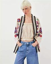 BNWT Zara TRF Ivory Embroidered Floral Kimono Style Jacket - Size S / M