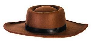 Adult Mens Classic Western Cowboy Hat Brown Felt Halloween Costume Accessory
