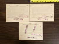 3 - 1887 Certificate Baltimore and Ohio Railroad Car Trust Bond $1000 Cancelled