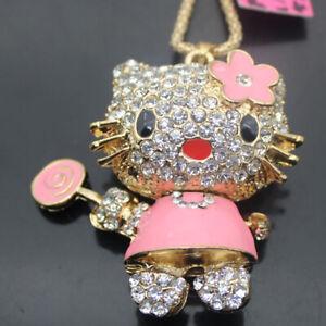 W00219   Betsey Johnson Crystal Enamel plum flower cat Pendant Necklaces