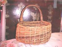 Vintage  Wall hanging mail Holder rattan wicker woven basket weave