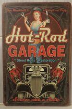HOT ROD GARAGE  Retro Vintage Metal Tin Sign Rustic Look .. MAN CAVE.. AU
