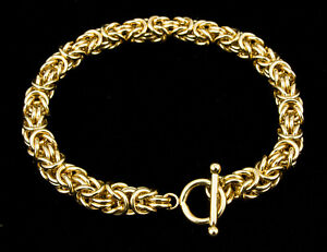 Byzantine Chain Maille Bracelet 14K Yellow Gold-Filled Artisan Crafted 7 Inches