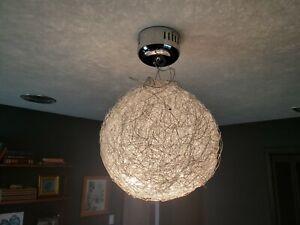 "Stunning 20"" Wire Sphere Pendant Lamp Chrome Ceiling Light Modern / Mid Century"