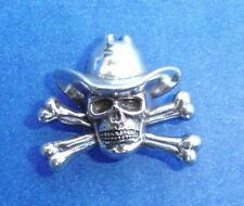 Western Cowboy Tack Antique Silver Plated Cowboy Skull Crossbones Concho's (6)