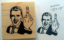 P46 Flipping the bird rubber stamp, retro styled WM