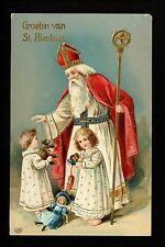 Christmas Santa postcard Saint Nicholas White Robe Religious toys children