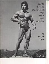 FRANK ZANE workout DEVELOP CHAMPIONSHIP LEGS & SMALL WAISTLINE muscle booklet