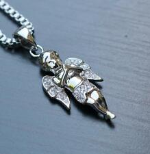 Mini Baby Angel Pendant Charm White Gold Plated With Box Chain Necklace