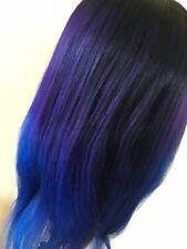 100% Human Virgin Brazilian Bodywave Custom Wig with Lace Closure Blue Ombre