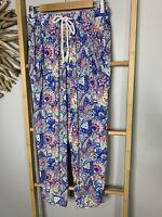 Eb & Ive Size S / M Harem Bali Yoga Pants Pastel Coloured Floral Print Hippie