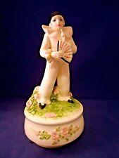 Vintage Figurine Music Box Clown With Fan Pierrot Love by Schmid -o1