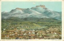 Fred Harvey Phostint Postcard H-1559 Fisher's Peak & Trinidad CO Las Animas Co.