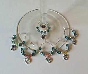 wine glass charms set of 6 fall leaves leaf