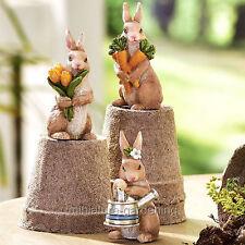 Garden Bunnies, 3 Piece Set for Miniature Garden, Fairy Garden
