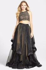 GLAMOUR BY TERANI COUTURE BEADED TOP & ORGANZA TWO-PIECE BALLGOWN DRESS sz 0