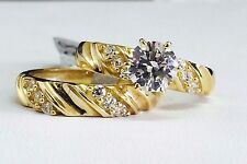 14K YELLOW GOLD WEDDING/ENGAGEMENT SET WITH Cubic Zirconia by Gianni Deloro