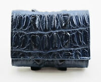 New Navy Blue Genuine Leather Crocodile Skin Women Tri-fold  Wallet Mini Purse