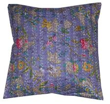 16'' INDIAN CUSHION COVER PILLOW CASE KANTHA-WORK FLORAL ETHNIC THROW DECOR ART