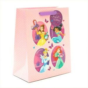 X-LARGE Disney PRINCESS Birthday GIFT BAG Girls Belle Jasmine Cinderella Ariel