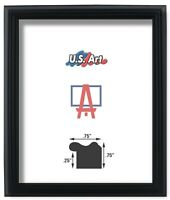 """US ART Frames .75"""" Thin Black Solid Poplar Wood Picture Poster Frame, S-A"""