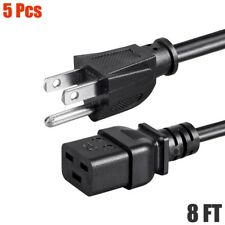 5x 8ft Power Cable Cord NEMA 5-15P Male Plug to IEC C19 Female Socket 15A 14AWG