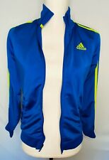 Adidas Girls Jacket Athletic Full Zip Track Lime Stripe Tricot Blue Size M 10/12