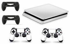 PS4 SLIM Console White Colour Skin Decal Vinal Sticker + 2 Controller Skins Set