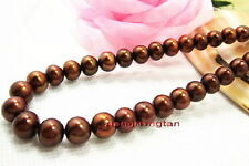"AAAAA Luster 18""10-11mm NATURAL real south sea chocolate pearl necklace 14K gold"