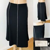 Ladies WALLIS Black Skirt Size 14 Skater Flare Panelled Smart/Casual New