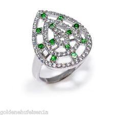 Tsavorit Granat Ring 925 Echt Silber / Rhodiniert Geschenkidee