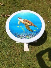 Sea Turtle hand painted handcrafted wooden coastal sea life animal table art