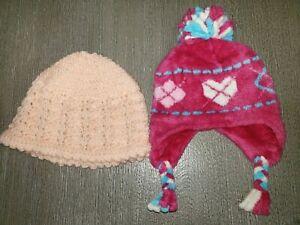2 girls KNIT FLEECE WINTER HATS size 2T to 5T pink ARGYLE DESIGN peach hand made