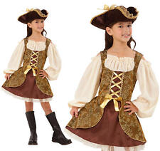 Childrens Pirate Fancy Dress Costume Golden Buccaneer Girls Outfit Childs Kids S