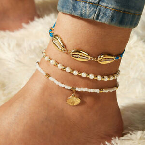 2020 Women Fashion Beach Gold Chain Shell Pearl Bead Pendant Anklet Bracelet Set