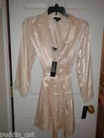 Jones New York ivory Wild Romance short satiny nightgown & matching robe NWT L