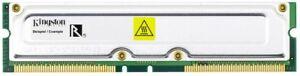 256MB Kingston ECC Rdram PC800 800MHz KVR800X18-16/256 Rimm Memory Module