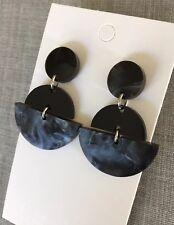 Acrylic Fan Dangle Earrings, Black Pearl Shimmer, Surgical Steel Stud, Statement